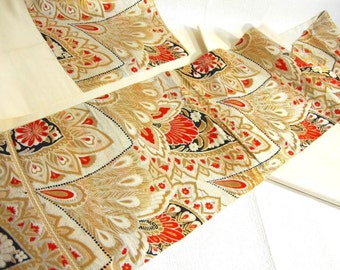 Japanese.Obi. Vintage. kimono.free shipping.feather.