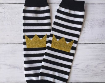 Wild 1 One 1st Birthday Cake Smash Outfit Boys Gold Crown Black White Striped Leg Warmers Baby Toddler