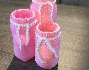 Decorated fabric glass jars