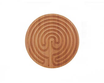 "Small 6""  Cretan Style Finger Labyrinth Prayer Meditation Bamboo Wood"