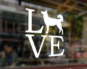 LOVE MY HUSKY or Dog Vinyl Stickers Decals Bumper Car Auto Computer Phone Mobile Laptop Wall Window Glass Skateboard Snowboard Helmet