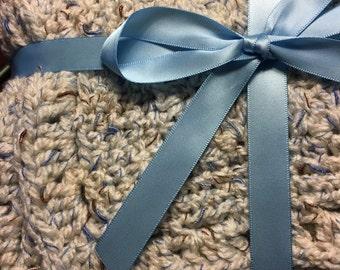 Croachet Baby Blanket - Baby Boy -Beige/Blue/Brown -Farmhouse style