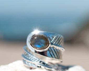 Leaf Labradorite Ring ~ Gemstone ~Natural ~Sterling Silver 925 ~Jewelry ~Handmade ~ February Birthstone ~Statement ~ Adjustable ~ Gift MR026