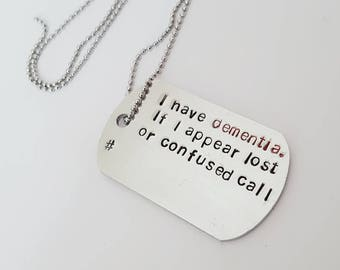 Medical awareness necklace, allergy awareness necklace, Emergency ID dog tag, medical gift, medical necklace for illnesses