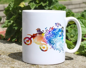 Motocross mug - Motorcycle mug - Colorful printed mug - Tee mug - Coffee Mug - Gift Idea