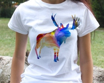 Moose T-shirt - Animal Tee - Fashion women's apparel - Colorful printed tee - Gift Idea