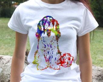 Cavalier king charles spaniel t-shirt - Dog tee - Fashion women's apparel - Colorful printed tee - Gift Idea