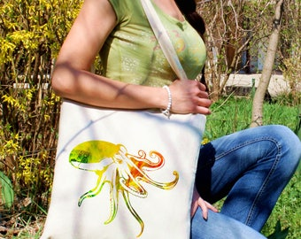 Octopus tote bag -  Octopus shoulder bag - Fashion canvas bag - Colorful printed market bag - Gift Idea