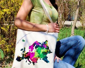Colorful map tote bag -  Europe shoulder bag - Fashion canvas bag - Colorful printed market bag - Gift Idea