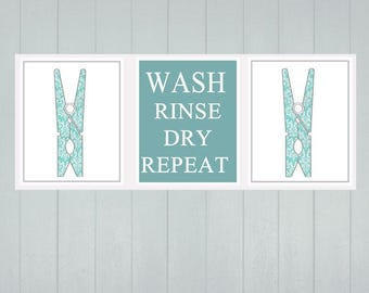 Laundry Wall Art - Wash Rinse Dry Repeat - House Warming Gift - Laundry Room Decor