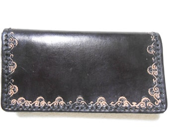 Genuine Leather, Black Checkbook Cover With Border Stamp. Personalized Checkbook Cover