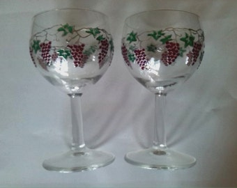 Set of two - grapes painted wine glasses