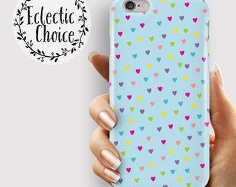 Rainbow Hearts Blue iPhone 7 case, iPhone 6s Plus case, iPhone 6 case, 5s, 5c, kawaii case , dotty heart, multi colour , pastel ,  confetti