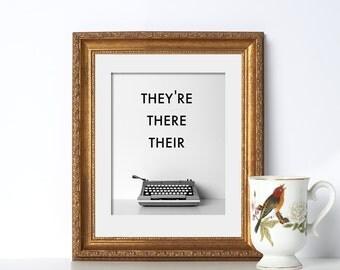Typewriter Art Grammar Digital Download Printable Art Gift for Writers Office Print Classroom Poster Office Prints Home Office Decor Write