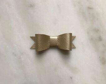 Gold Faux Leather Brynn Bow