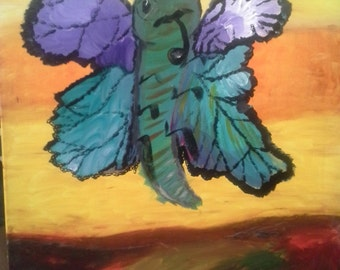 """Acrylic painting """"Butterfly pumped/pompus monocle butterfly tea smoking pipe"""" canvas 16 """"x 20"""" * - 50% off"""