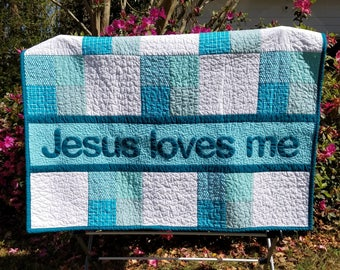 Jesus Loves Me, Handmade Baby Quilt, Baby blanket, Baby Gift, Toddler bedding, Toddler Quilt, Blue Baby Bedding, Baby Shower Gift