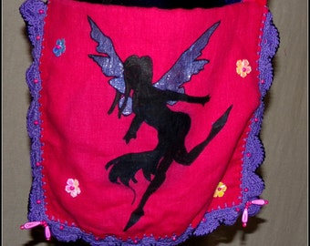 Bag slung to the ground fairy in linen and cotton 100% natural