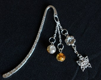 Silver bookmark with its two-tone beads and his charms - PMPA1