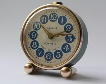 Soviet clock. Alarm USSR. Mechanical alarm. Vintage clock SLAVA. Working.