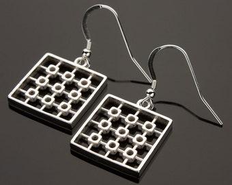 Geometric Design Sterling Silver Earrings, 3D Printed Earrings, Geometric Earrings, Sterling Silver Earrings, Contemporary Earrings, iDu 3D