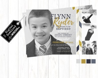 LDS Baptism Invitation, Gray & Gold Boy Baptism Invite | Personalized Digital Download 4x6 or 5x7 JPG