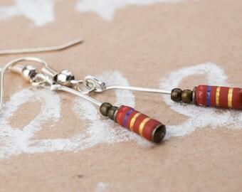Earrings resistor rust-Red