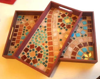 Two Piece Set Mosaic Tile Serving Trays
