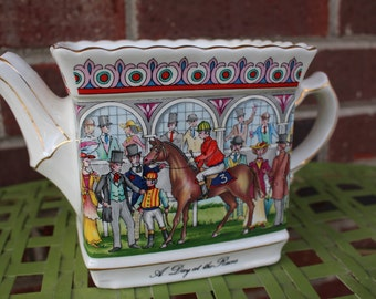 Sadler Painted Teapot Championship A Day at the Races made in England