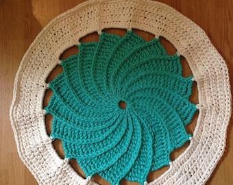 Handmade Crochet Round Rug Turquoise&white