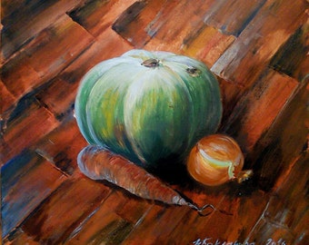 Still life with pumpkin carrot & onion 50x60 cm Original acrylic painting on cardboard Cosy kitchen Cafe Dining room decor Healty lifestyle
