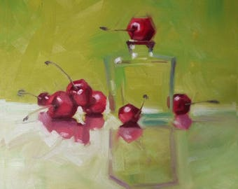 Cherries 40x40 cm Oil painting (copy) on canvas Ripe juicy cherries on a green  Dining room  Cosy kitchen  Cafe Colorful warm Wall Art Decor
