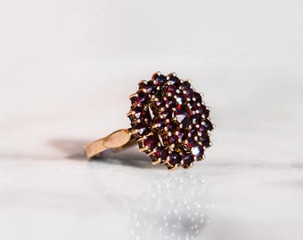 Antique Bohemian Garnet Ring Victorian Style Heirloom Gold Over 830 Silver