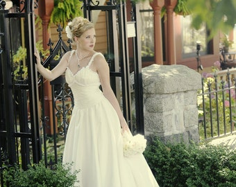 V-neck Gown with Ruffle Straps and Rouched Bodice. SIZE 4-6