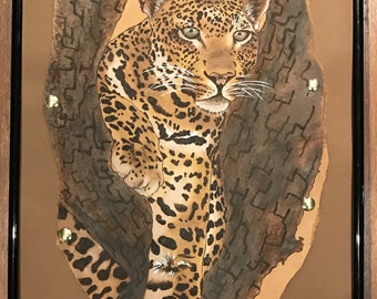 Pyrography / painted Leopard on Leather