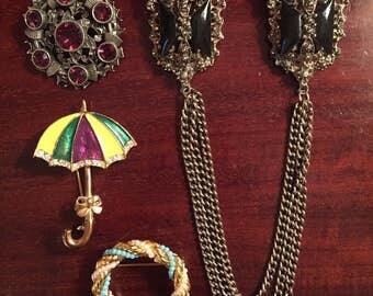 1980s Vintage brooch lot (4)