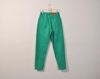 High Waisted Jeans, 90s Mom Jeans, Green Jeans, Tapered Leg Jeans, Liz Claiborne Jeans, 1990s Jeans, Size 10