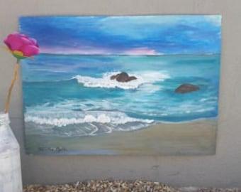 Acrylic seascape original art on canvas paper