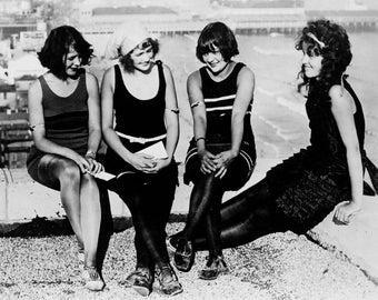 "1922 Bathing Beauties in Atlantic City, NJ Vintage Photograph 8.5"" x 11"" Reprint"