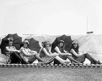 "1922 Bathing Beauties with Parasols Vintage Photograph 8.5"" x 11"" Reprint"