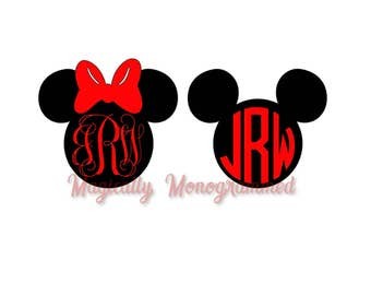 Monogrammed Mickey/Minnie Mouse Vinyl Decal