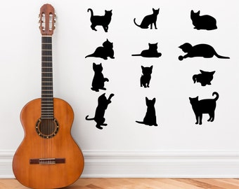 Cat/ Kittens set of twelve silhouettes wall art decal stickers
