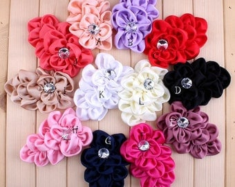 Free Shipping Handmade Soft Lchthyosis Shape Fabric Headband Flower Artificial Wedding Decorative Flowers+Bling Buttons Supplies 11*7.5