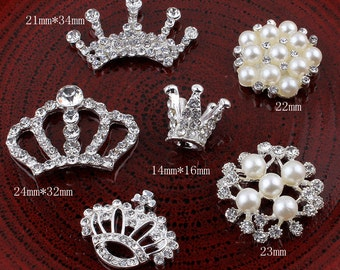 Crown/Round/Snow/Flower Metal Rhinestone Buttons for Craft Flatback Crystal Decorative Buttonss for Hair Accessories