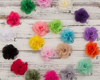 Free Shipping Newborn Soft Chic Chiffon Flower For Baby Girl Hair Accessories Artifcial Fabric Flowers For Headbands DIY  Supplies 2.6""