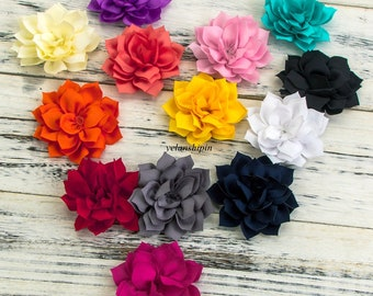 "Free Shipping 3.4"" 13Colors Double-Layer Lotus Flowers For Kids Hair Accessories Winter Fabric Flowers For Headbands"