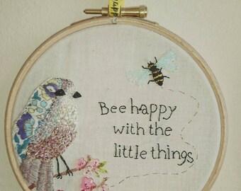 Bee and Bird embroidery hoop art