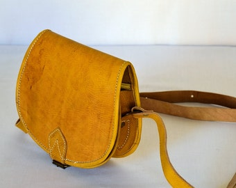 Moroccan Leather Handbag, mustard yellow, bohemian, naturally dyed