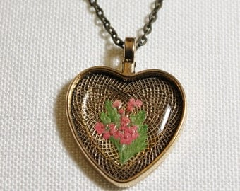 Heart Shaped Pressed Flower Necklace
