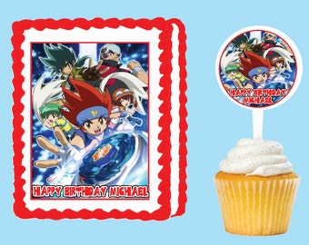 Beyblade etsy for Anime beyblade cake topper decoration set